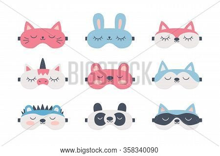 Set Of Sleep Masks For Eyes With Cute Animals. Night Accessory To Healthy Sleep, Travel And Recreati