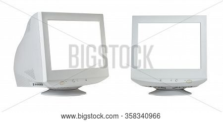 Old Retro Crt Monitor Display With Blank White Screen Isolated On White Background.