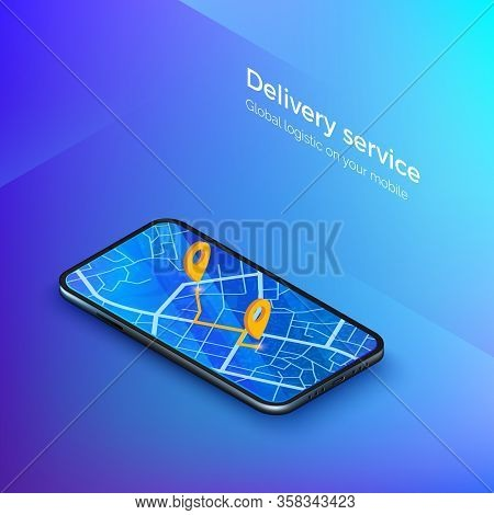 Delivery Or Taxi Service Isometric Banner. Navigation Or Gps In Mobile. Mobile App Cab Or Shipping.