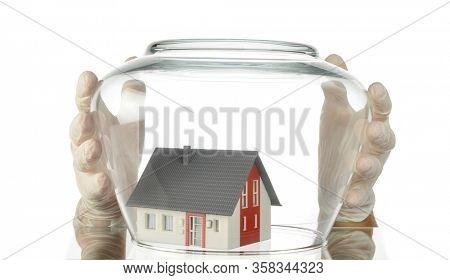 House under COVID-19 Quarantine Concept