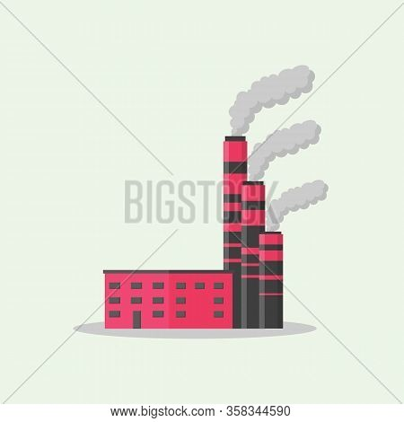 Factory Or Industrial Building Flat Design Style Icon Set. Factories, Warehouse, Conveyor And Other