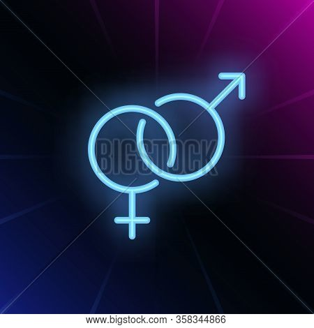 Heterosexuality Symbol Neon Sign. Glowing Neon Crossed Mars And Venus Symbols On Brick Wall Backgrou