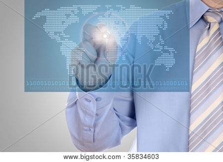 Digital world concept graphic, including digital map of the world, vector