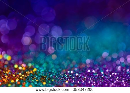 Decoration Twinkle Lights Background, Abstract Blurred Backdrop With Circles, Modern Design Overlay