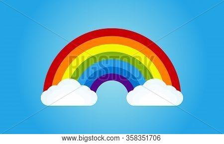 Colorful Rainbow Vector Illustration. Creative Sky Rainbow Cloud Vector Background Template