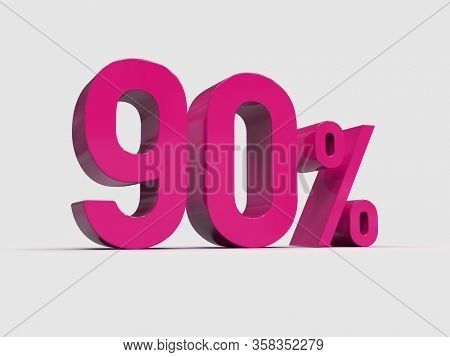 3d Render: Red 90% Percent Discount 3d Sign on White Background, Special Offer 90% Discount Tag, Sale Up to 90 Percent Off,  Ninety Percent Letters Sale Symbol, Special Offer Label, Sticker, Tag