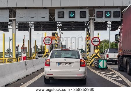 Wroclaw, Poland - July 16, 2019: The Pay Toll Check Point. Toll Booths At Highway In Poland