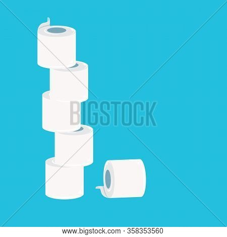 Stack Of Toilet Paper Isolated On Blue Background. Deficit Of Toilet Paper Concept Illustration.self