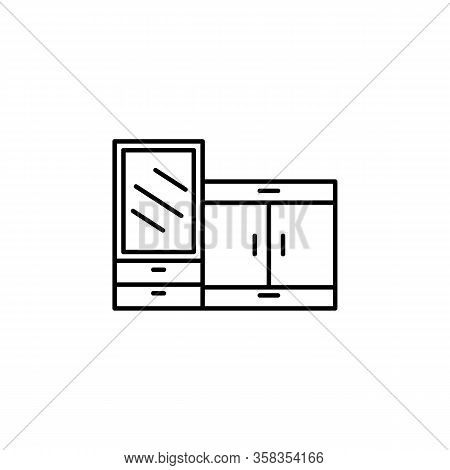 Closet, Furniture, Home, Mirror Line Illustration Icon On White Background.