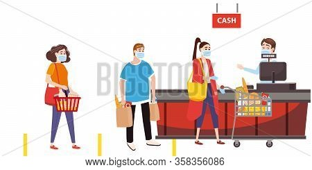 Supermarket Store Counter Cashier And Buyers In Medical Masks, With Cart And Basket Of Food. Quarant