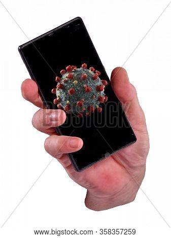 Cell phone viral coronavirus news concept on white background.