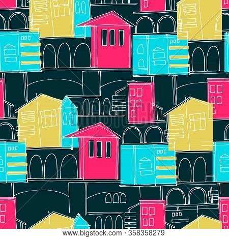 Seamless Pattern. Cityscape With Multicolored And Outlined Historical Buildings And Archways