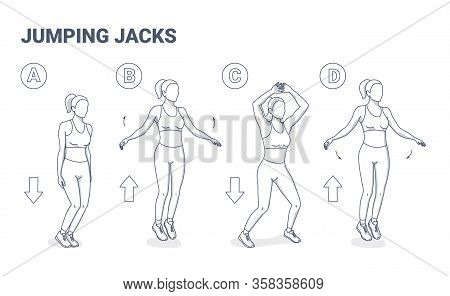 Jumping Jacks Exercise Girl Workout. Star Jumps Illustration, A Young Woman In Sportswear Does The S