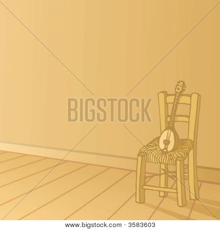 Baglamas Resting On Chair Background
