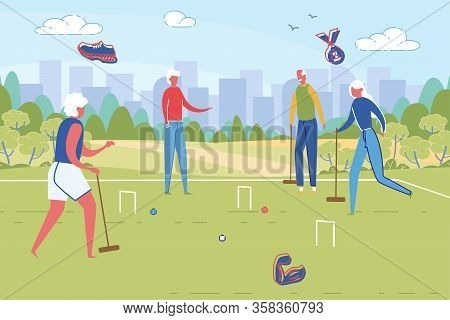 Sportive Good Looking Senior People Playing Cricket In City Park. Retirement And Active Rest In Pens