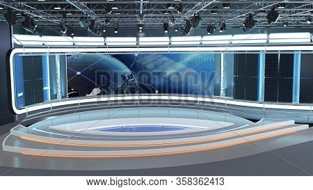 Virtual Tv Studio News Set 35. 3d Rendering. Virtual Set Studio For Chroma Footage. Wherever You Wan