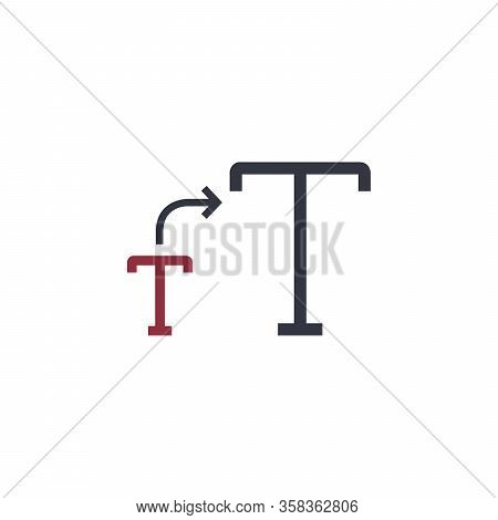 Font Letter Size Bigger Icon. Larger Size Font. Stock Vector Illustration Isolated On White Backgrou