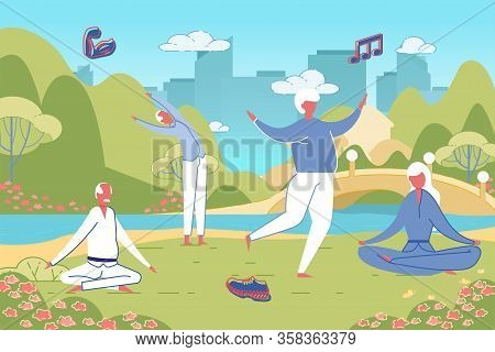 Senior People Practise Qigong Breath System At River Bank Background. Physical Exercises And Sports
