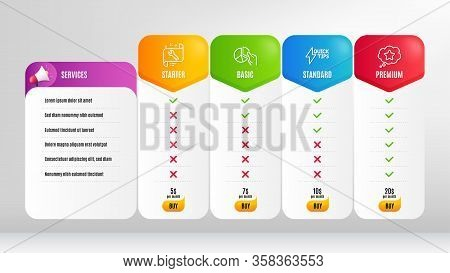 Loyalty Star, Quickstart Guide And Pie Chart Line Icons Set. Pricing Table, Price List. Spanner Sign