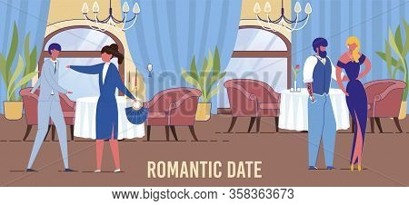 Loving Couples Meeting Casually After Work Day And For Solemn Event In Restaurant. Men And Women Cha