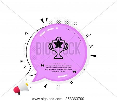 Winner Cup Icon. Quote Speech Bubble. Sport Trophy With Star Symbol. Victory Achievement Or Champion