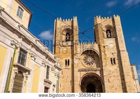 Facade Of Lisbon Cathedral (sé De Lisboa)