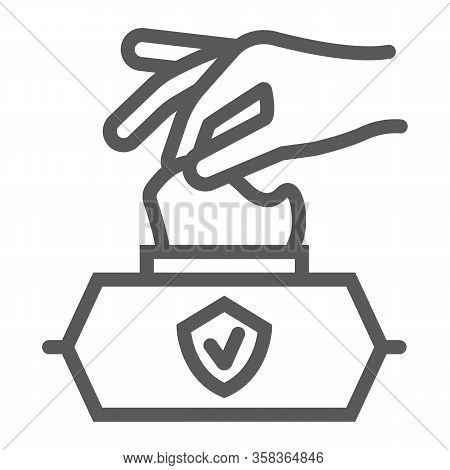 Hand Pulling Wet Tissue Line Icon, Wash And Hygiene, Hand Tissues Sign, Vector Graphics, A Linear Pa