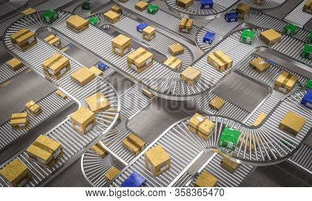 conveyor rollers with different types of packages. Shipping, logistics and manufacturing industry concept. 3d render.