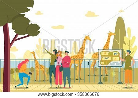 Friends Visiting Zoo Flat Vector Illustration. People Taking Selfie In Park. Photo With Giraffe. Men