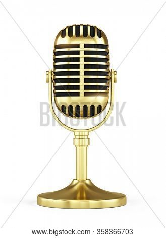 Retro gold concert vocal microphone with stand isolated on white Background. Webinar or Karaoke concept. 3d rendering icon of microphone.