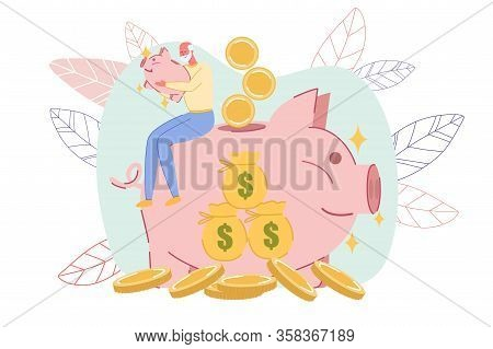 Happy Old Retired Senior Man With Pig Money-box Sitting On Huge Piggy-bank. Money Savings For Future