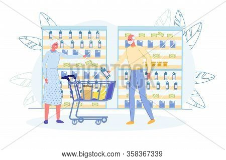 Senior Man And Woman Discussing What Milk To Choose. Grandparents With Trolley Cart Shopping In Groc