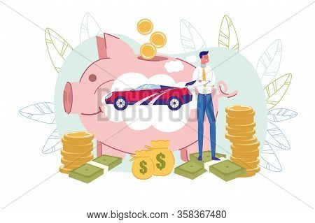 Happy Businessman, Big Piggy-bank With Car Inside, Money Around. Man Dreaming About Buying New Expen