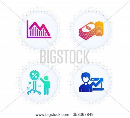 Savings, Discount And Investment Graph Icons Simple Set. Button With Halftone Dots. Success Business