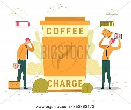 Coffee Charge Abstract Flat Banner Vector Template. Energizing Hot Drink, Coffeehouse Advertising Po