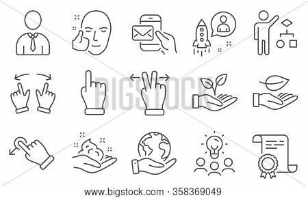 Set Of People Icons, Such As Touchscreen Gesture, Messenger Mail. Diploma, Ideas, Save Planet. Helpi
