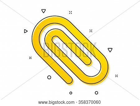Attachment Paper Clip Sign. Attach Icon. Office Stationery Object Symbol. Yellow Circles Pattern. Cl