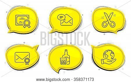 Verified Mail Sign. Diploma Certificate, Save Planet Chat Bubbles. New Mail, Whiskey Glass And Sciss