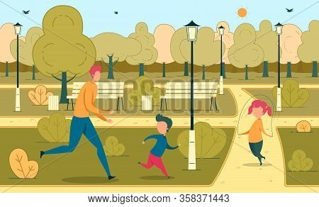 Daddy Rest With Children In Urban Green Park. Dad Running After Son, Daughter Jumping On Rope. Activ
