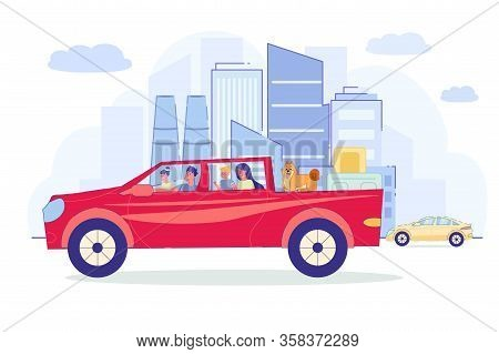 Parents With Children Travel By Car, Illustration. Friendly Family In Large Family Transport Went On