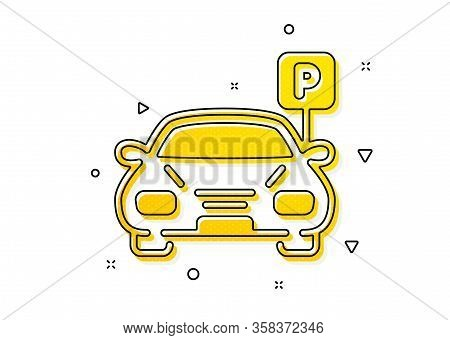 Auto Park Sign. Car Parking Icon. Transport Place Symbol. Yellow Circles Pattern. Classic Parking Ic
