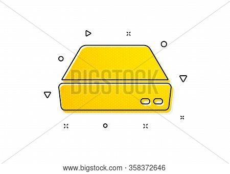 Small Computer Device Sign. Mini Pc Icon. Yellow Circles Pattern. Classic Mini Pc Icon. Geometric El