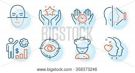 Ranking, Eye Target And Safe Time Signs. Face Id, Cooking Chef And Heart Line Icons Set. Face Recogn
