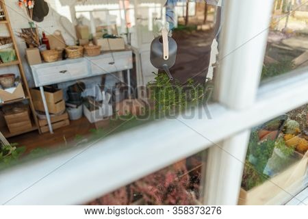 Female Herbalist Using A Watering Pot Indoors