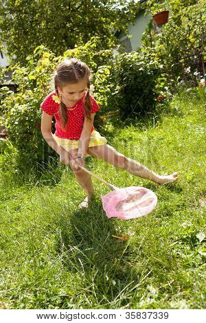 Girl With A Pink Butterfly Net