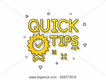 Helpful Tricks Sign. Quick Tips Icon. Tutorials With Award Medal Symbol. Yellow Circles Pattern. Cla