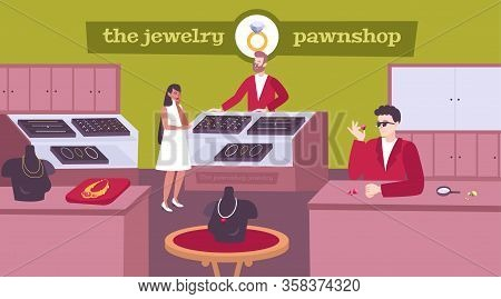 Jewelry Pawnshop Interior Flat Composition With Lady Customer Choosing Necklace Pawnbroker Pricing G