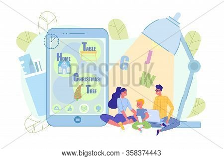 Online Learning Service Mobile Application For Family Metaphor. Happy Mother, Father And Little Pres