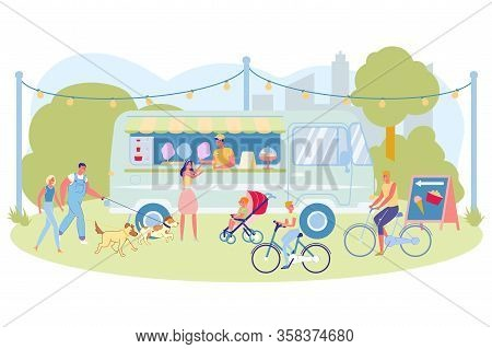 Summer Fun And Leisure In City Park, Cartoon. Guy Trades Cotton Candy From Bus Standing Park. Design