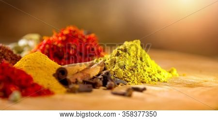 Spices. Various Indian Spices colorful background. Spice and herbs backdrop. Assortment of Seasonings, condiments. Cooking ingredients, flavor